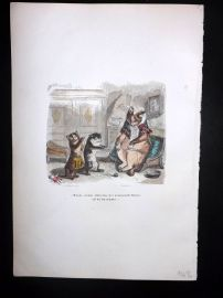 Grandville 1842 Hand Col Print. Cats playing with Ball of Twine